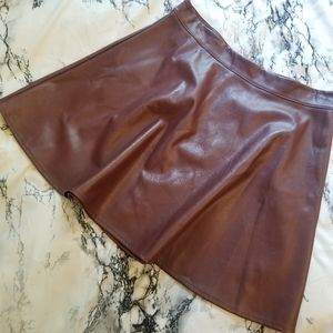 Iris Burgundy Faux Leather Skirt